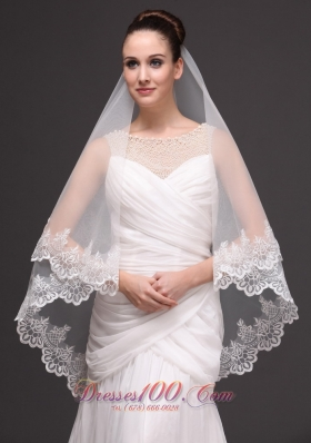 Bridal Veil With Two-tier Tulle Lace Appliques