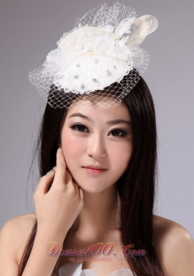 With Net Beading For Party White Fascinators
