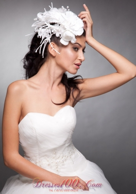 Wedding Party Pearls Hand Flowers Taffeta Headpieces