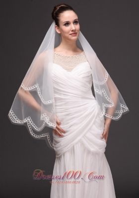 Two-tier Oval Shaped Tulle Wedding Veil On Sale