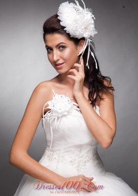 Hand Flowers White Beaded Headpieces and Corsage