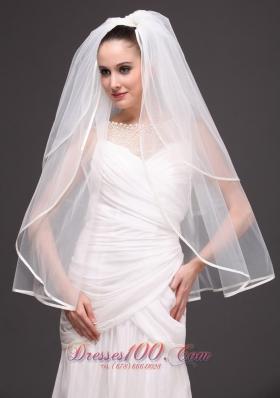 Two-tier Oval Shaped Ribbon Edge Wedding Veil