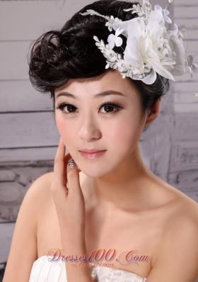 Imitation Pearls Women Fascinators Tulle and Chiffon
