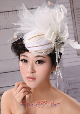 Outdoor and Wedding Hat Hairpin Tulle Beading