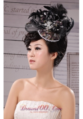 Black Outdoor and Wedding Hat Hairpin Feather Tulle