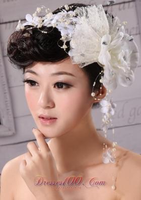 Imitation Pearls Fascinator Tulle and Chiffon