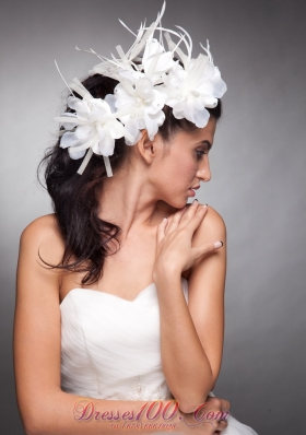Hand Made Flowers White Organza Wedding Headpieces