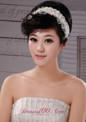 Lace White Imitation Pearls Outdoor Fascinator