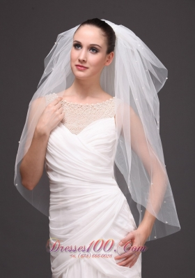 Four-tier Cut Edge Drop Bridal Veil Tulle
