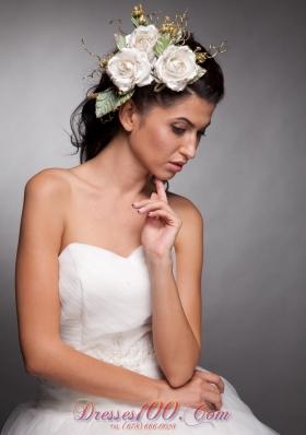 Hand Made Flowers Women Wedding Fascinators Taffeta