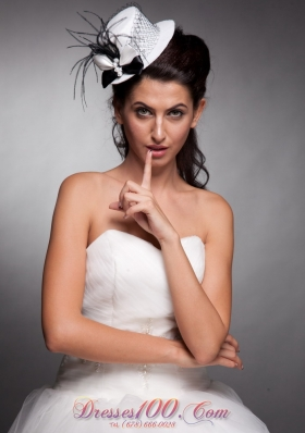 White and Black Bridal Hat Headpieces Beaded Bowknot