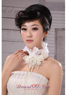 Flower Silk Ribbon Choker Necklace White Chiffon