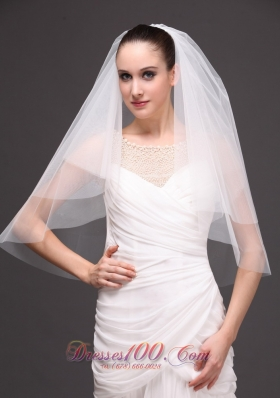 Finished Edge Drop Bridal Veil White Two-tier