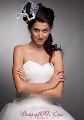 Women Hat Fascinators Black and White Net
