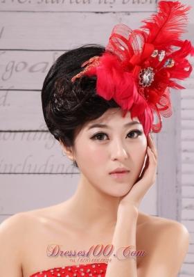 Feather Flower Red Chiffon Net Women Fascinator