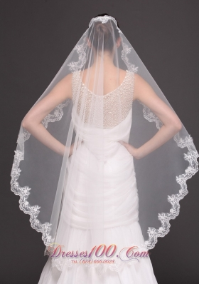Mantilla Shaped Tulle Appliques One-tier Wedding Veil