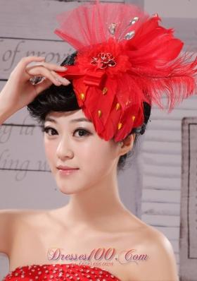 Chiffon and Net Women Fascinators Red Outdoor