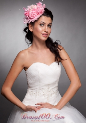 Hand Flowers Lace Net Bridal Hat Baby Pink