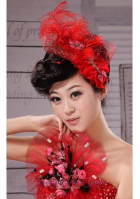 Tulle Feather Red Women Hairpins Birdcage Veils