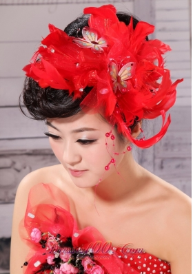 Feather With Beading Taffeta Red Bow For Headpieces