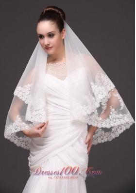 Two Layers Drop Bridal Veils Lace Applique Edge