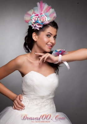 Colorful Hand Flowers Headpieces and Wrist Corsage