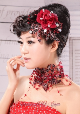 Beading Embellishment Women Headpieces Red and Black