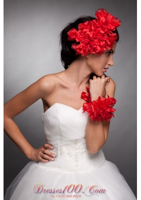 Hand Flowers Red Headpieces and Wrist Corsage