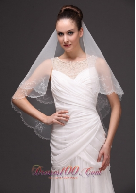 Embroidery Tulle Drop Bridal Veils For Wedding Two-tier