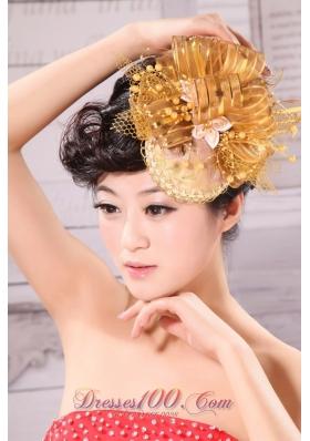Princess Beading Bride Headdress Gold Tulle Organza
