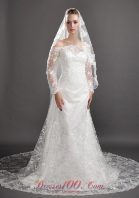 Tulle Embroidery Wedding Veils Angel cut