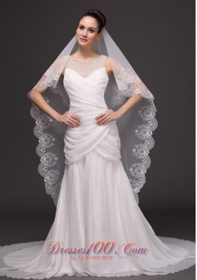 Lace Applique Edge Bridal Veils For Wedding Two-tier