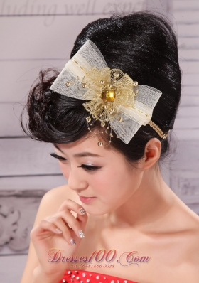 2013 Gold Headpieces Bowknot and Rhinestone for Sale