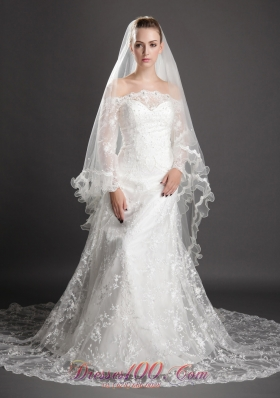 2013 One Layer Tulle White Bridal Veils Beading