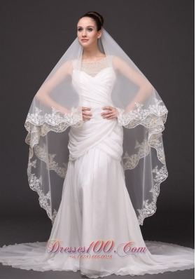 Two-layer Bridal Veils For Wedding Lace Appliques Edge