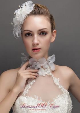 Net Rhinestones White Women 's Fascinators Hand Flower