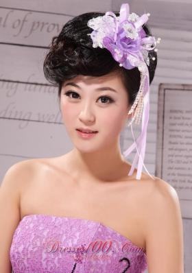 Taffeta Lace White Lavender Side Clamp Hair Flower