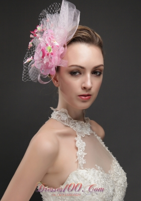 Net With Flowers Ribbons Pink Women 's Fascinators