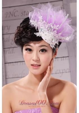 Headpieces Rhinestone Net Tulle Lavender Beading