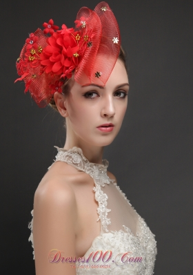 Bowknot Shaped Red Fascinators With Appliques