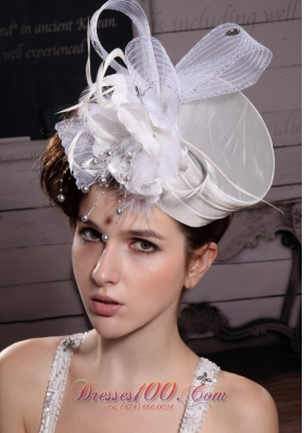 Feather Tulle Ribbons Organza Bridal Headpiece