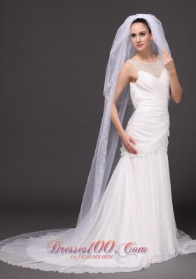 Pearl Trim Edge Wedding Bridal Veils Three tiered