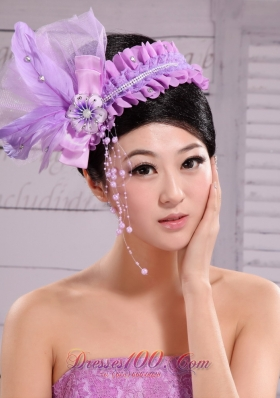 Pearl Feather Lavender Headpiece 2013