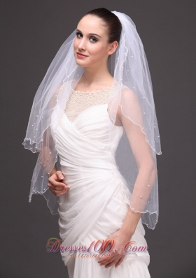 Graceful 2013 Wedding Veil Two-tiered Tulle