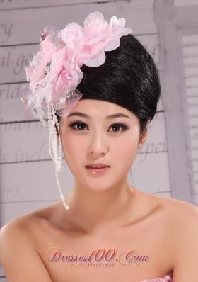 Baby Pink Headpiece Imitation Pearls Beaded