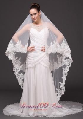 Cathedral 2013 Wedding Veil Lace Applique Edge