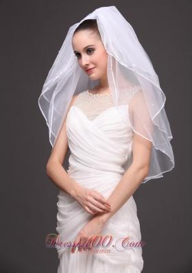 Three-Tier Tulle Bridal Veil Wedding White