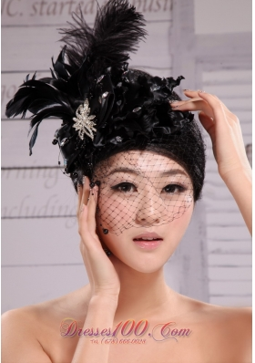 Hat Flower Feather Wedding Headpiece Black Beaded