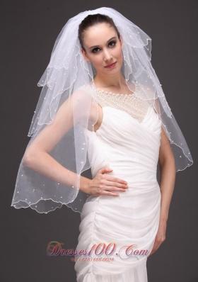 Three-tiered Tulle Pearls Wedding Veil White 2013