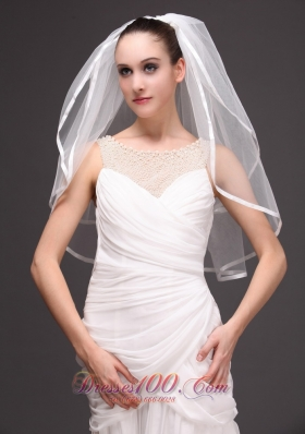 Wedding Veil 2013 Two-tiered Ribbon Edged